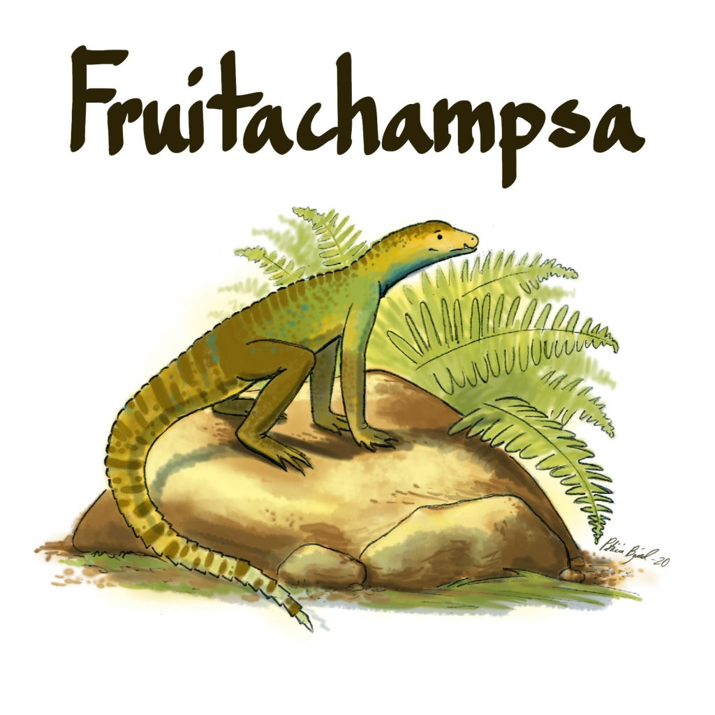 Fruitachampsa, a small croc cousin trying very hard to be a cat instead of a croc. It doesn't like water much.