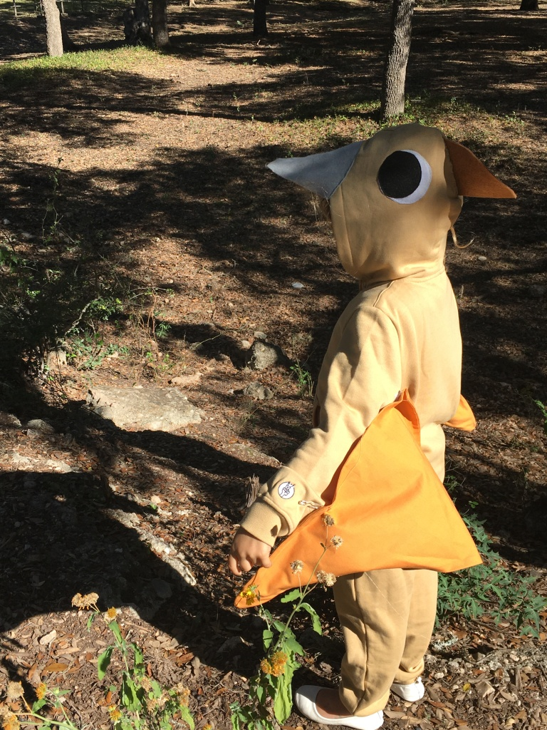 My oldest daughter showing off her pterosaur costume.