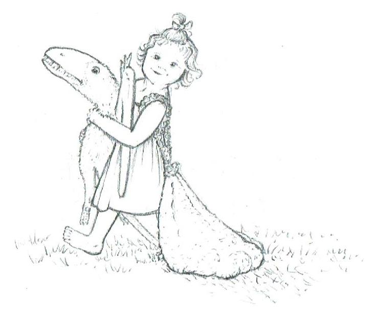 A little girl carries Douglas and a bag full of tennis balls.
