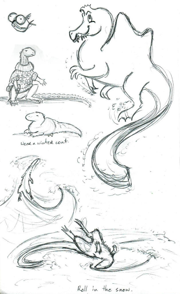 Random winter dino doodles.