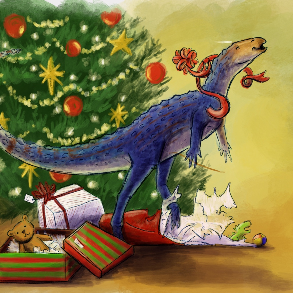 Skittles the Scutellosaurus wishes you Merry Christmas and a Happy New Year!