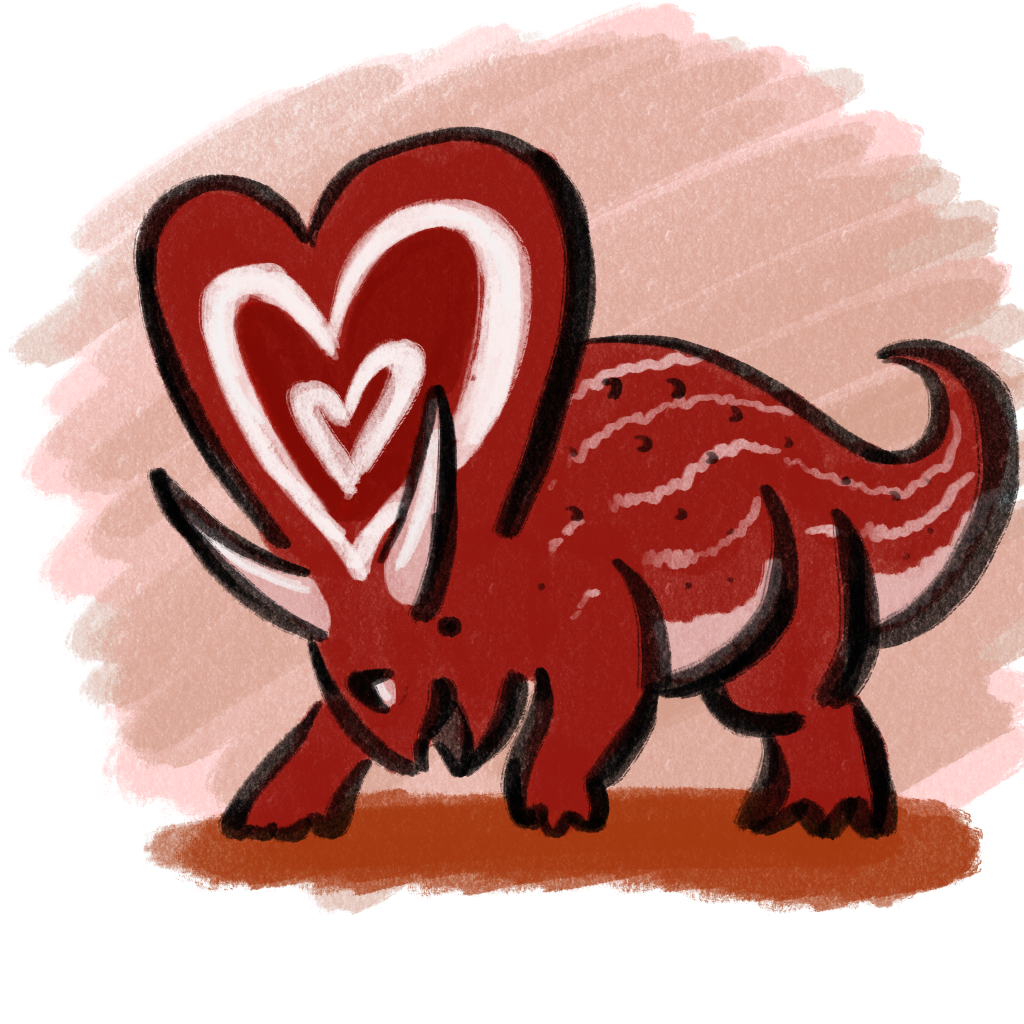 Mojoceratops is charged full of love.