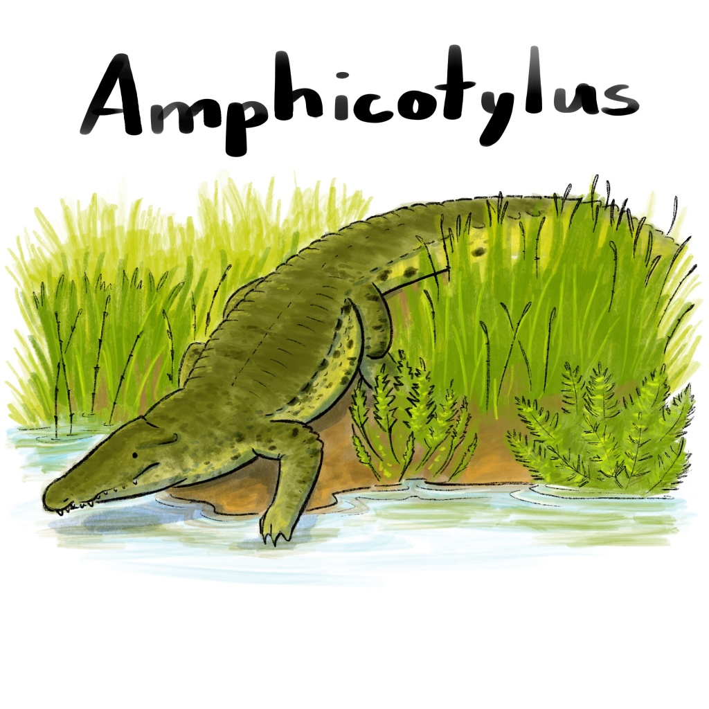 Amphicotylus ambles to the river's edge for an afternoon swim.