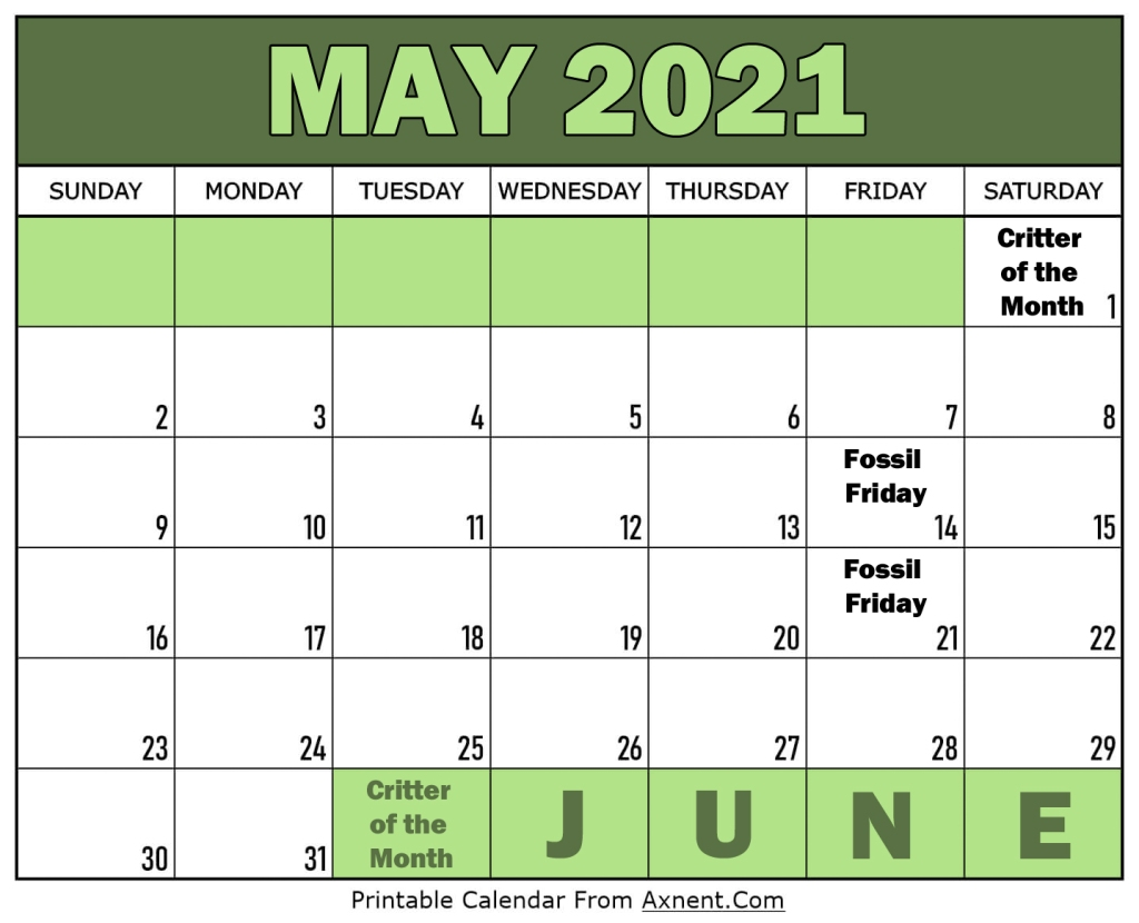 Calendar for May 2021. Critter of the month the 1st of each month. FF on 14th and 21st.