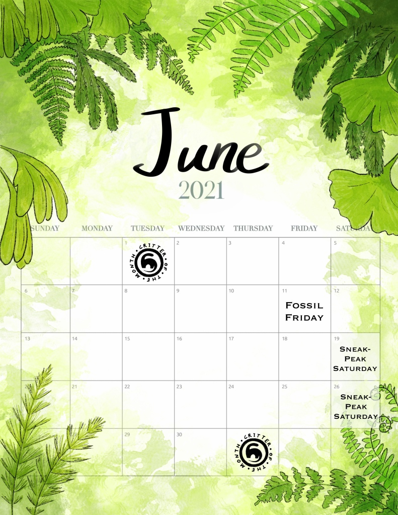 This month's prettified calendar!  Fossil Friday on the 11th. Sneak-Peak Saturday on 19th & 26th.