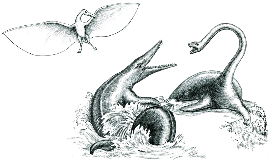 A placid Pterodactylus is spectator to a clash of marine monsters. Convenient that they chose land for their arena!